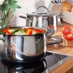 stainless steel pot on induction cooktop