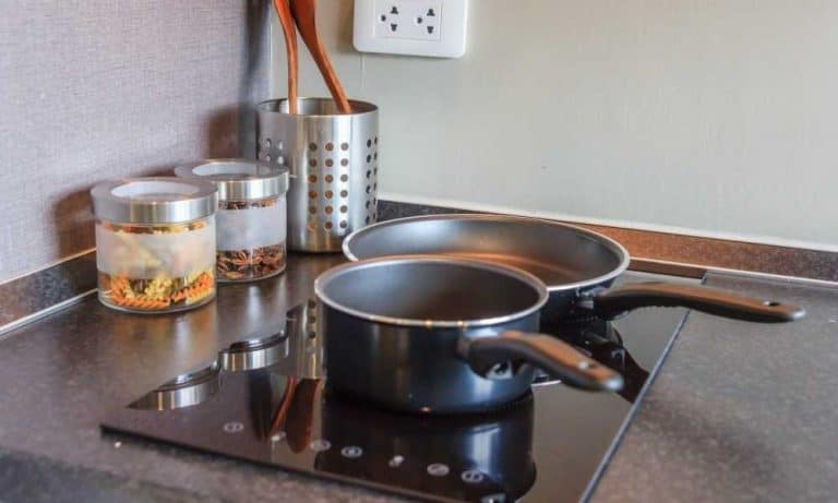 Saucepan on built-in induction cooktop