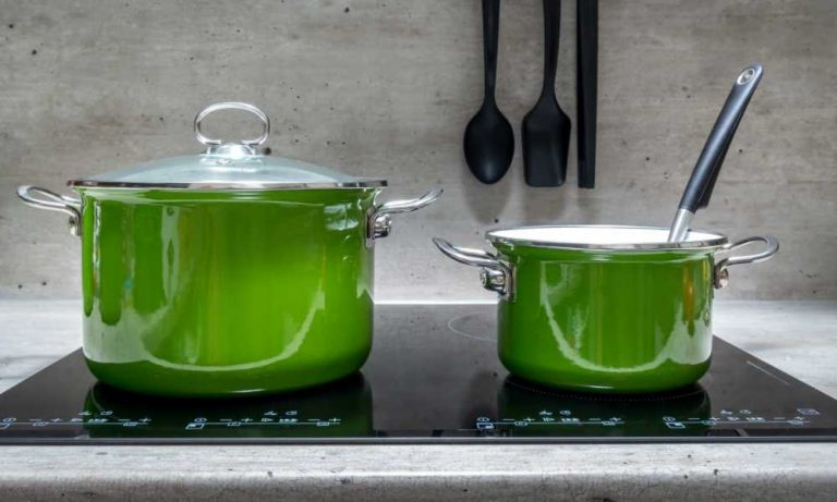 large stockpots on built-in induction cooktops