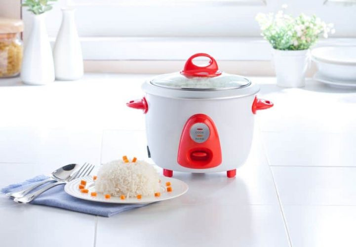 electric rice cooker with cooked rice