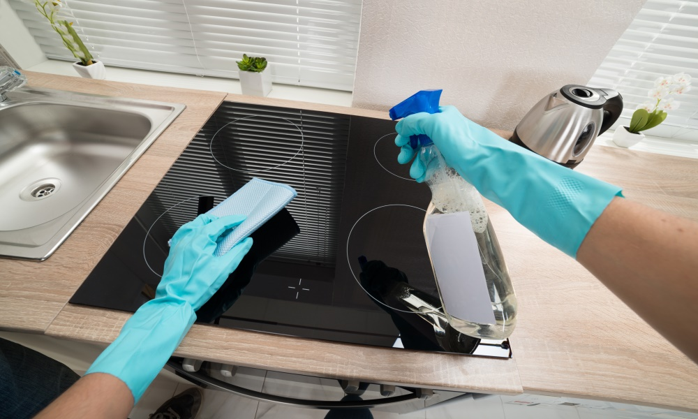 cleaning a built-in induction cooktop