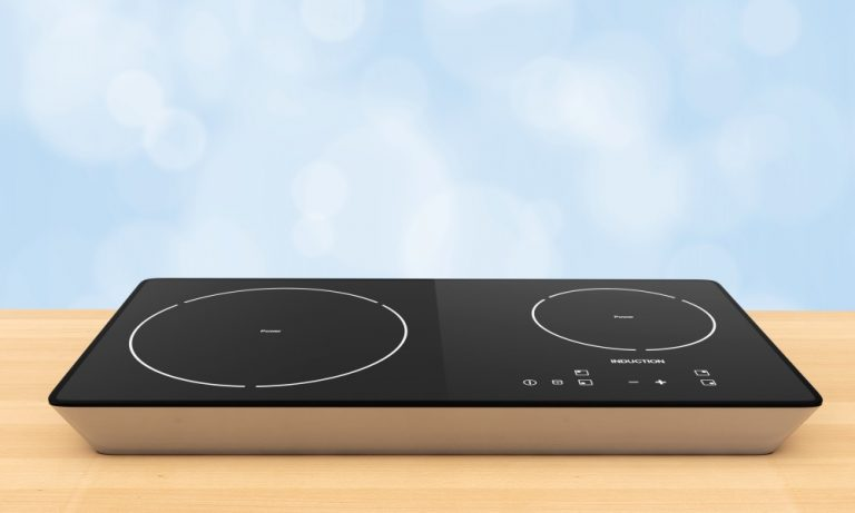 two burner induction hob with black ceramic surface