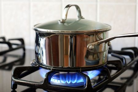Pot on gas stove