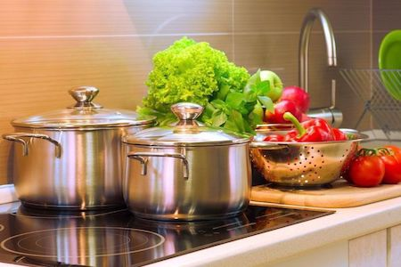 Stainless Steel Pots with Vegetables