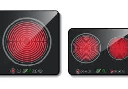 surface of one and two heating zone black induction cookers with touch controls