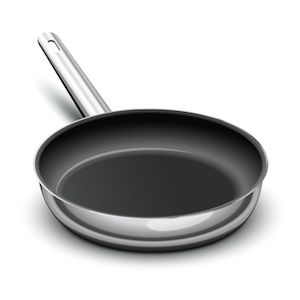 nonstick frying pan with stainless steel body