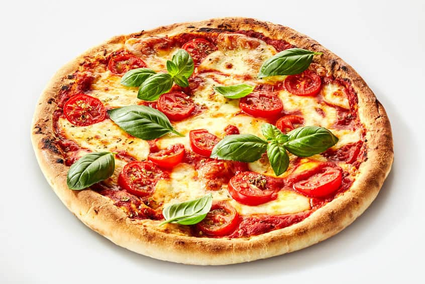 Margherita pizza with basil, mozzarella cheese and tomato