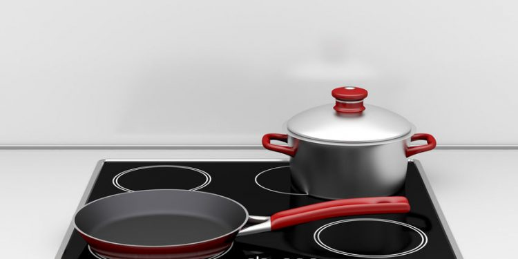 pot and pan on built-in induction stove