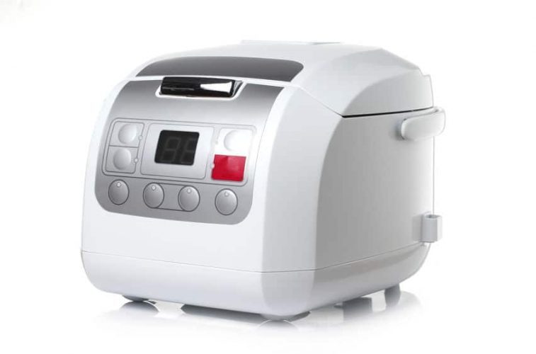 white rice cooker on white background