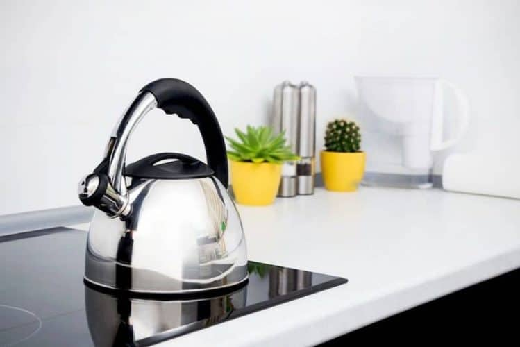 tea kettle on built-in induction cooktop