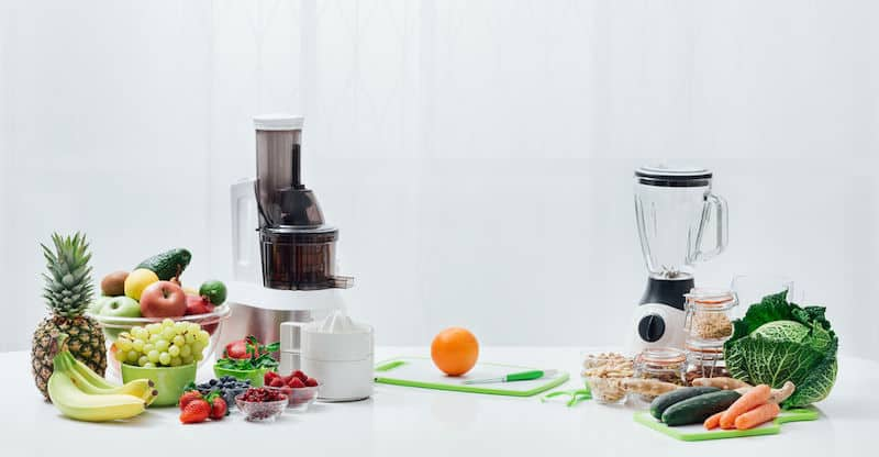 Juicer and Blender with Fresh fruit and vegetables