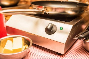 commercial induction cooktop with frying pan