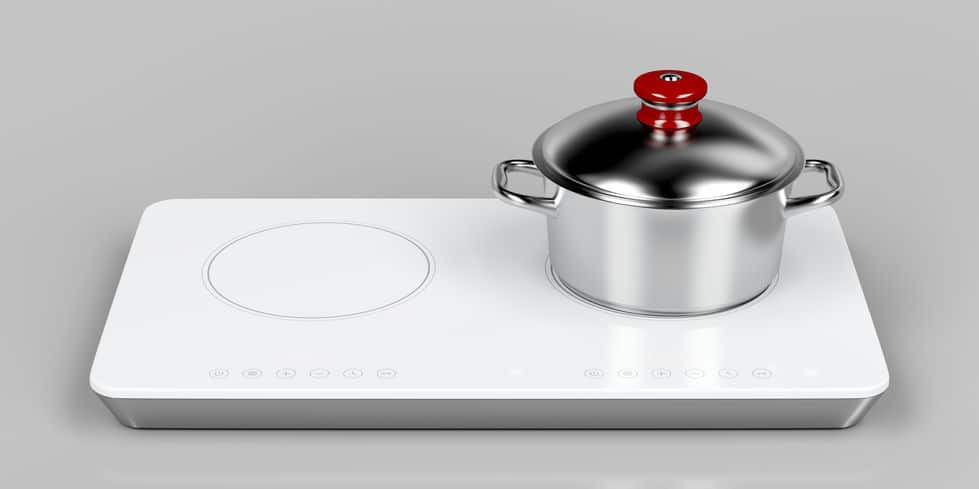Double induction cooktop and cooking pot on gray background