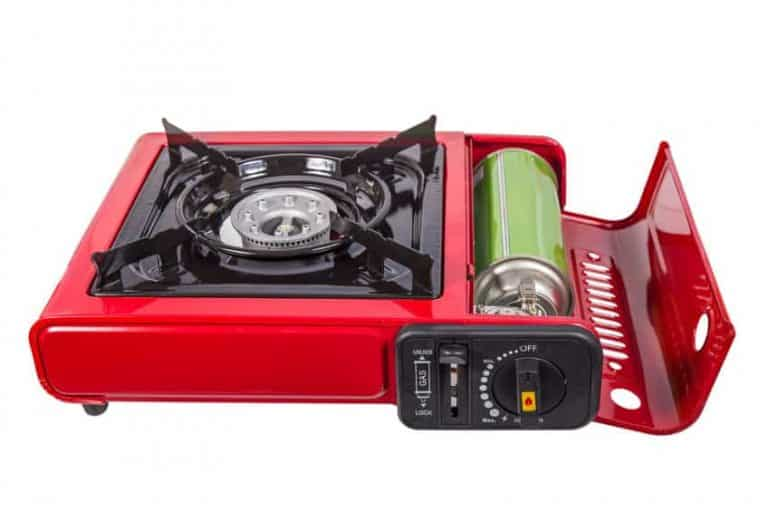 butane portable camping stove showing canister and controls