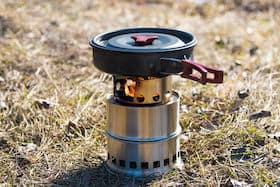stainless steel camping stove with pan and cover