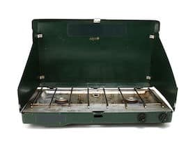 two burner propane camping stove with windshields