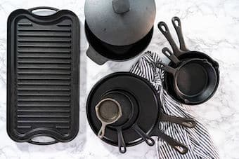 cast iron frying pans and griddle